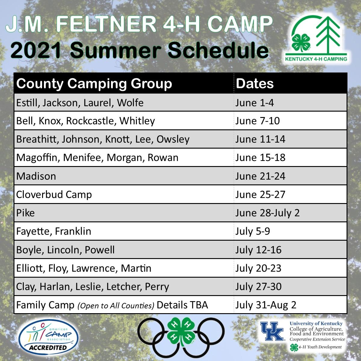 2021 Summer Camp Dates (As of 9/30/2020)