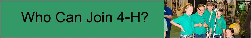 Who Can Join 4-H