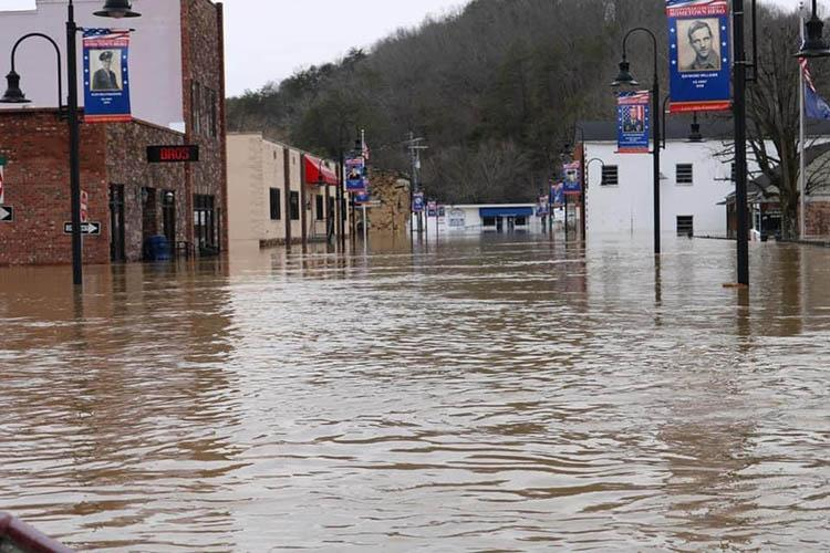 Flooded downtown street in Beattyville, KY.