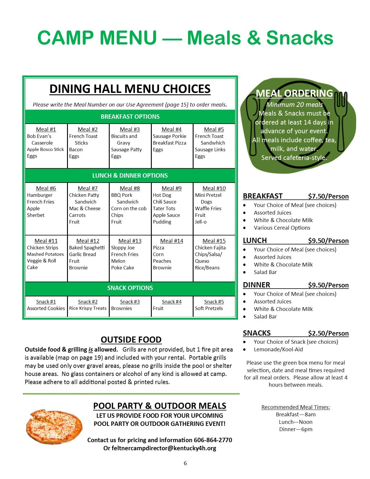 Meal Pricing & Info